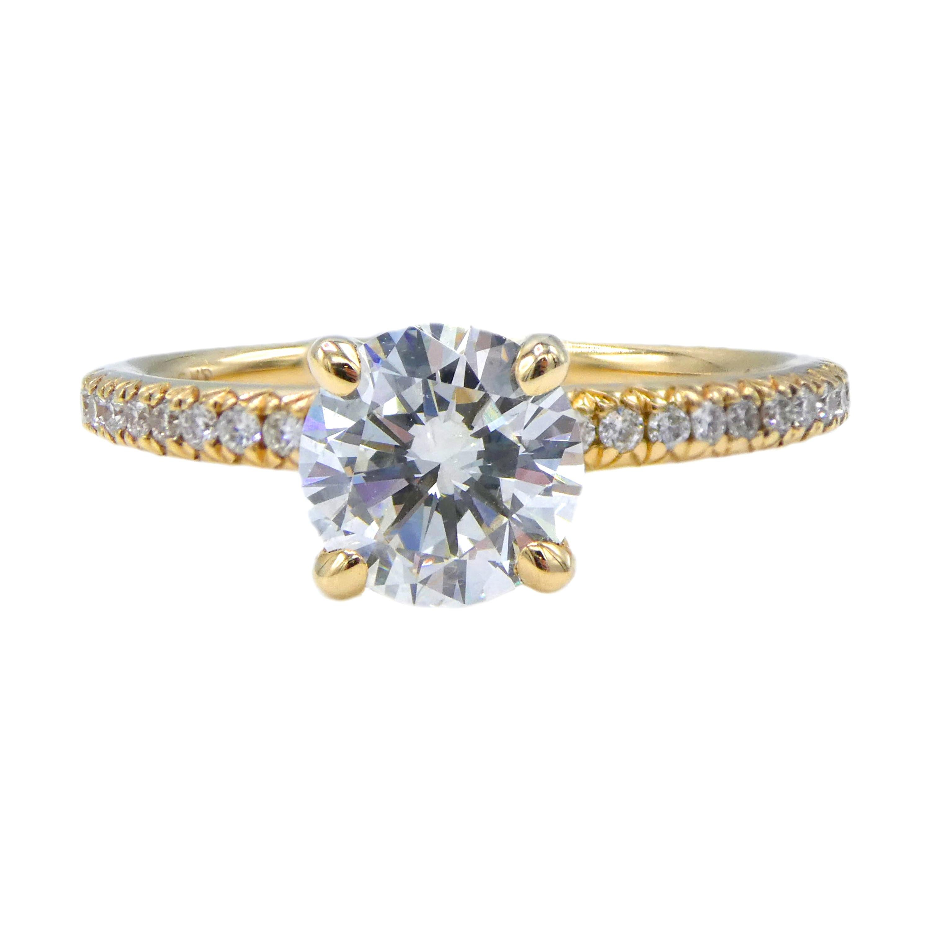 GIA Certified 0.94 Carat Round Diamond Yellow Gold Solitaire Engagement Ring