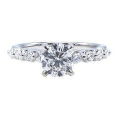 GIA Certified 0.97 Carat F I1 14 Karat White Gold Diamond Engagement Ring