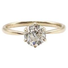 GIA Certified 0.98 Carat Old European Brilliant I VS 2 Diamond Engagement Ring