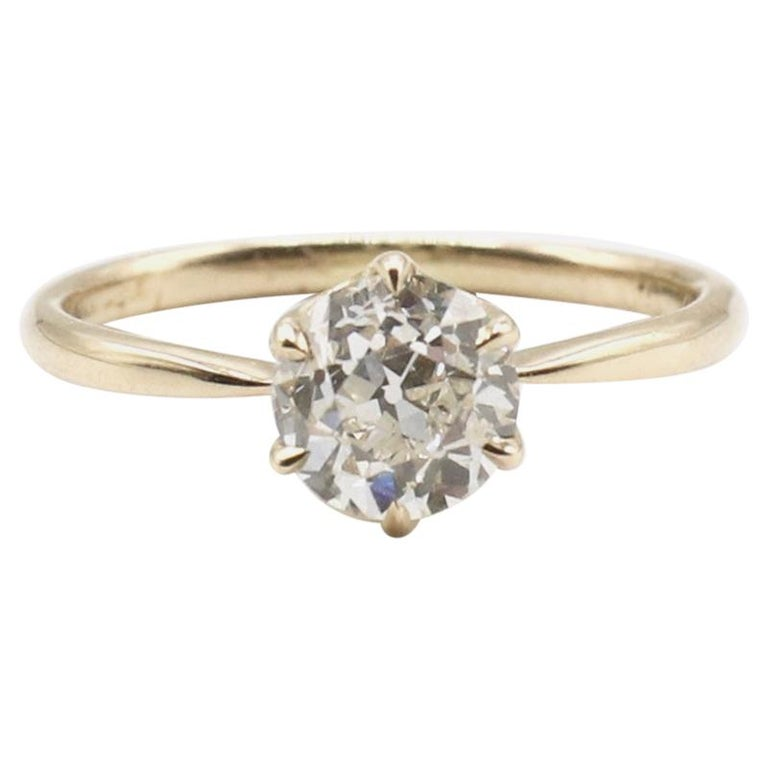 GIA Certified 0.98 Carat Old European Brilliant I VS 2 Diamond Engagement Ring For Sale