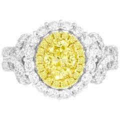 DiamondTown GIA Certified 0.98 Carat Oval Cut Natural Fancy Intense Yellow Ring