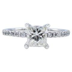 GIA Certified 0.98 Carat Princess Cut I I1 14 Karat Pave Diamond Engagement Ring