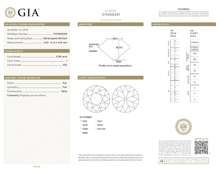 GIA Certified 0.98 Carat Old European Brilliant I VS 2 Diamond Engagement Ring For Sale 5