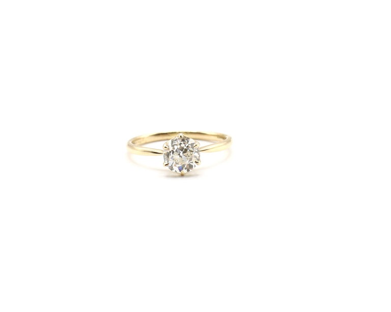 GIA 0.98ct Old European Brilliant Diamond 18k Yellow Gold Solitaire Engagement Ring Crown Settings Size 5  GIA Report Number: 5192905339 (please note report details pictured for details) Metal: 18k Yellow Gold Stone: GIA Certified 0.98ct Old