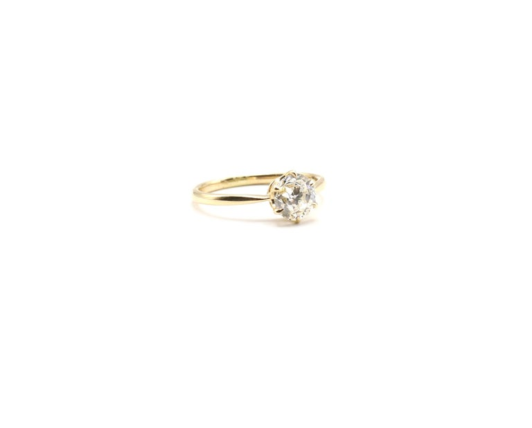 Old European Cut GIA Certified 0.98 Carat Old European Brilliant I VS 2 Diamond Engagement Ring For Sale