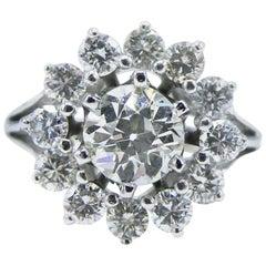 GIA Certified 0.99 Carat Old European Brilliant Diamond Engagement Ring