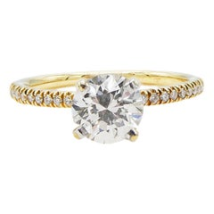 GIA Certified 0.99 Carat Round Diamond Engagement Ring 14 Karat Gold