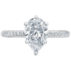 GIA Certified 1 1/2 Carat 14 Karat White Gold Pear Diamond Engagement Ring