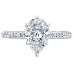 GIA Certified 1 1/2 Carat 14 Karat White Gold Pear Diamond Engagement Ring