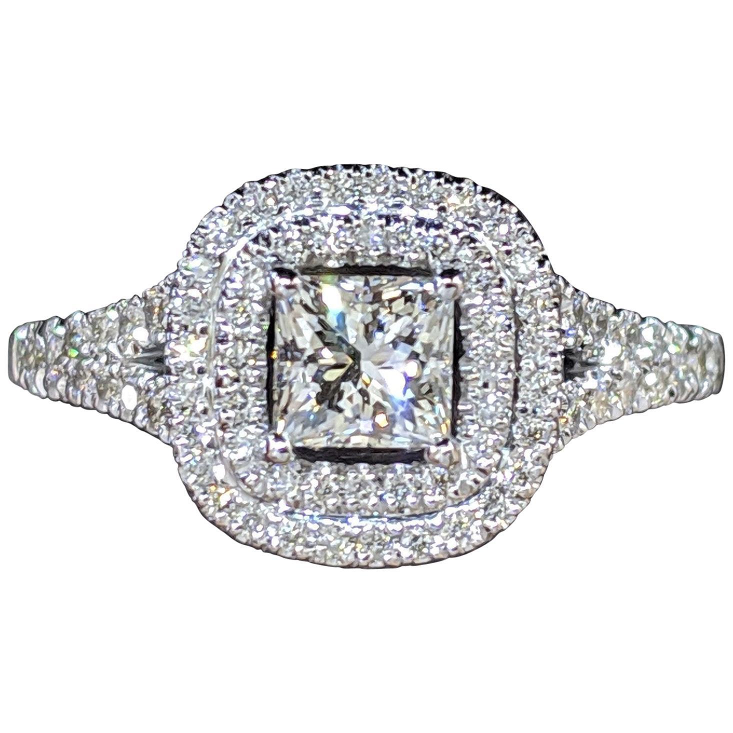 GIA Certified 1 1/2 Carat 14 Karat White Gold Princess Diamond Engagement Ring