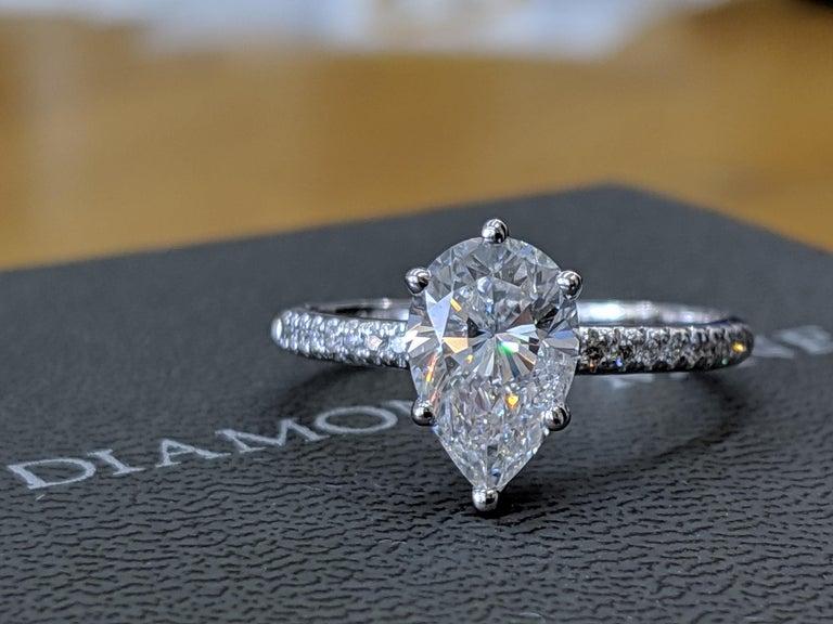 Pear Cut GIA Certified 1 1/2 Carat 14 Karat White Gold Pear Diamond Engagement Ring For Sale