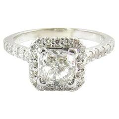 GIA Certified 1 Carat Cushion Cut Diamond Halo Ring 14 Karat White Gold