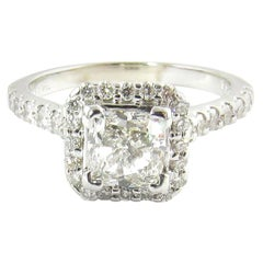 GIA Certified 1 Carat Cushion Cut Diamond Halo Ring 14 Karat White Gold