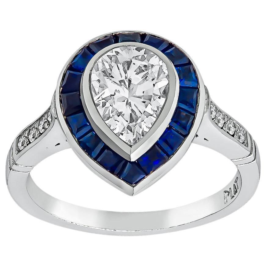 GIA Certified 1 Carat D/VS1 Diamond Sapphire Engagement Ring