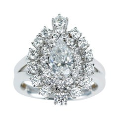 GIA Certified 1 Carat D VS2 Pear Shape Diamond Double Halo Engagement Ring