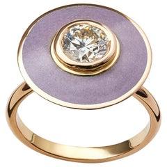 GIA Certified 1 Carat Diamond Engagement Ring Grey Vitreous Hot Enamel 18k gold