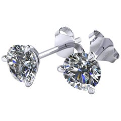 GIA Certified 1 Carat Diamond Martini Platinum Stud Earrings