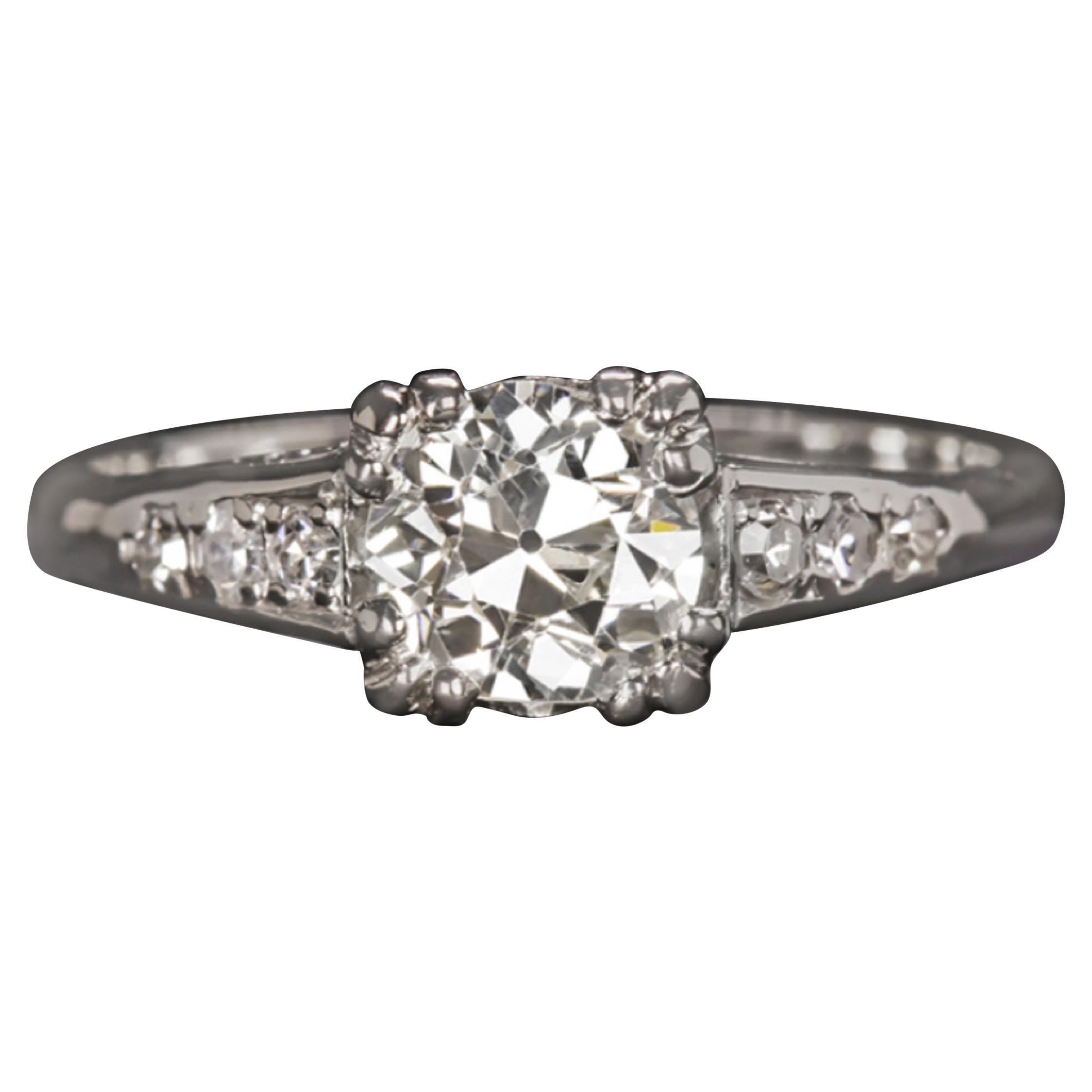 GIA Certified 1 Carat Diamond Ring Platinum Old Cut