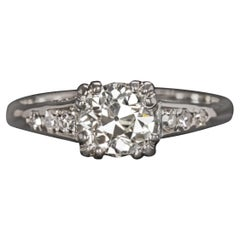 GIA Certified 1 Carat Diamond Ring Platinum Old Cut