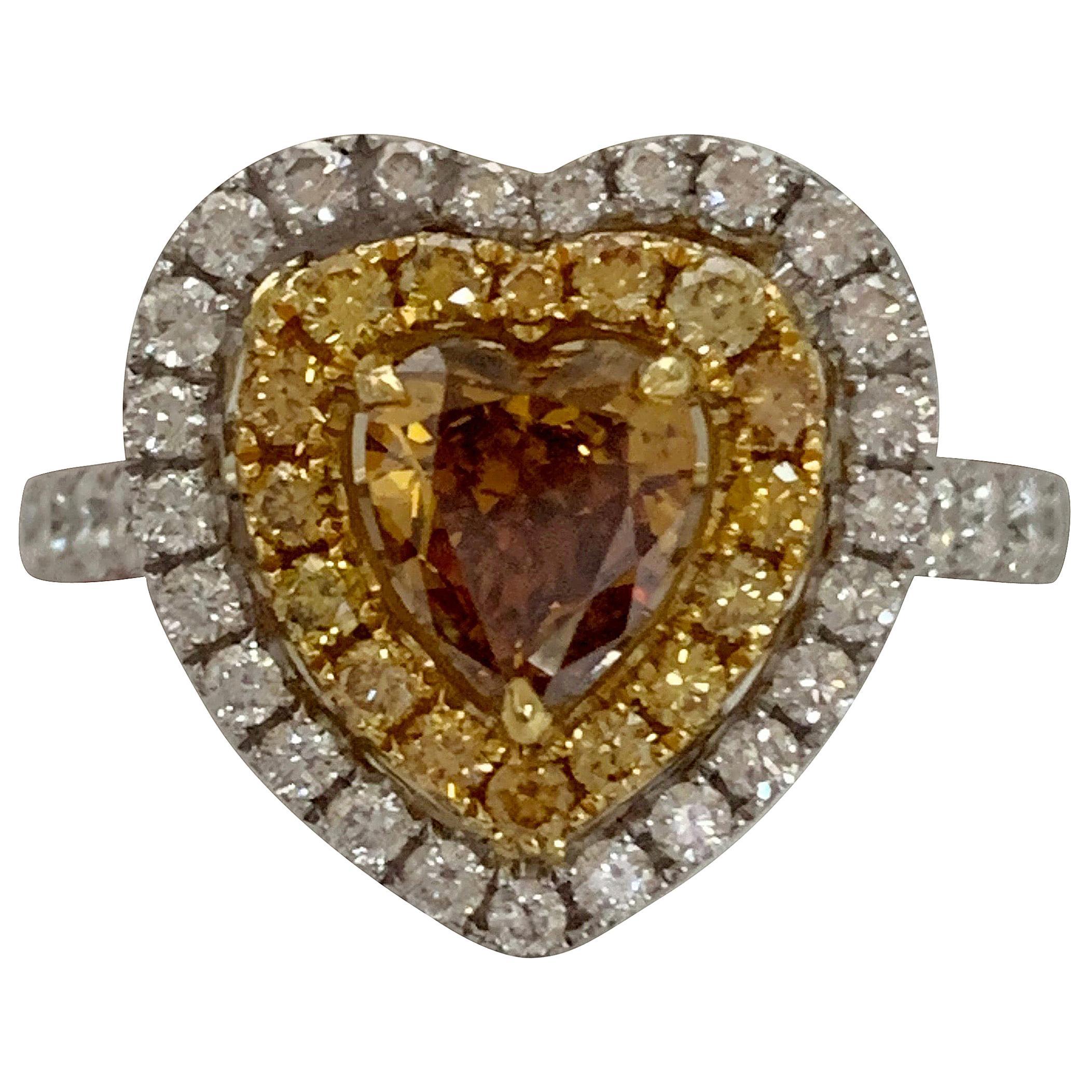 GIA Certified 1 Carat Fancy Brownish Yellow Diamond Ring