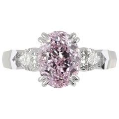GIA Certified 1 Carat Fancy Light Purplish Pink Diamond Ring