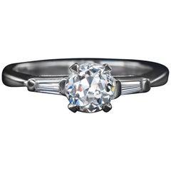 GIA Certified 1 Carat G SI1 Diamond Engagement Ring Platinum Old Cut