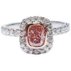 GIA Certified 1 Carat Natural Fancy Orangy Pink Diamond Platinum Engagement Ring