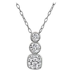 GIA Certified 1 Carat Radiant Cut Diamond Platinum Pendant Necklace
