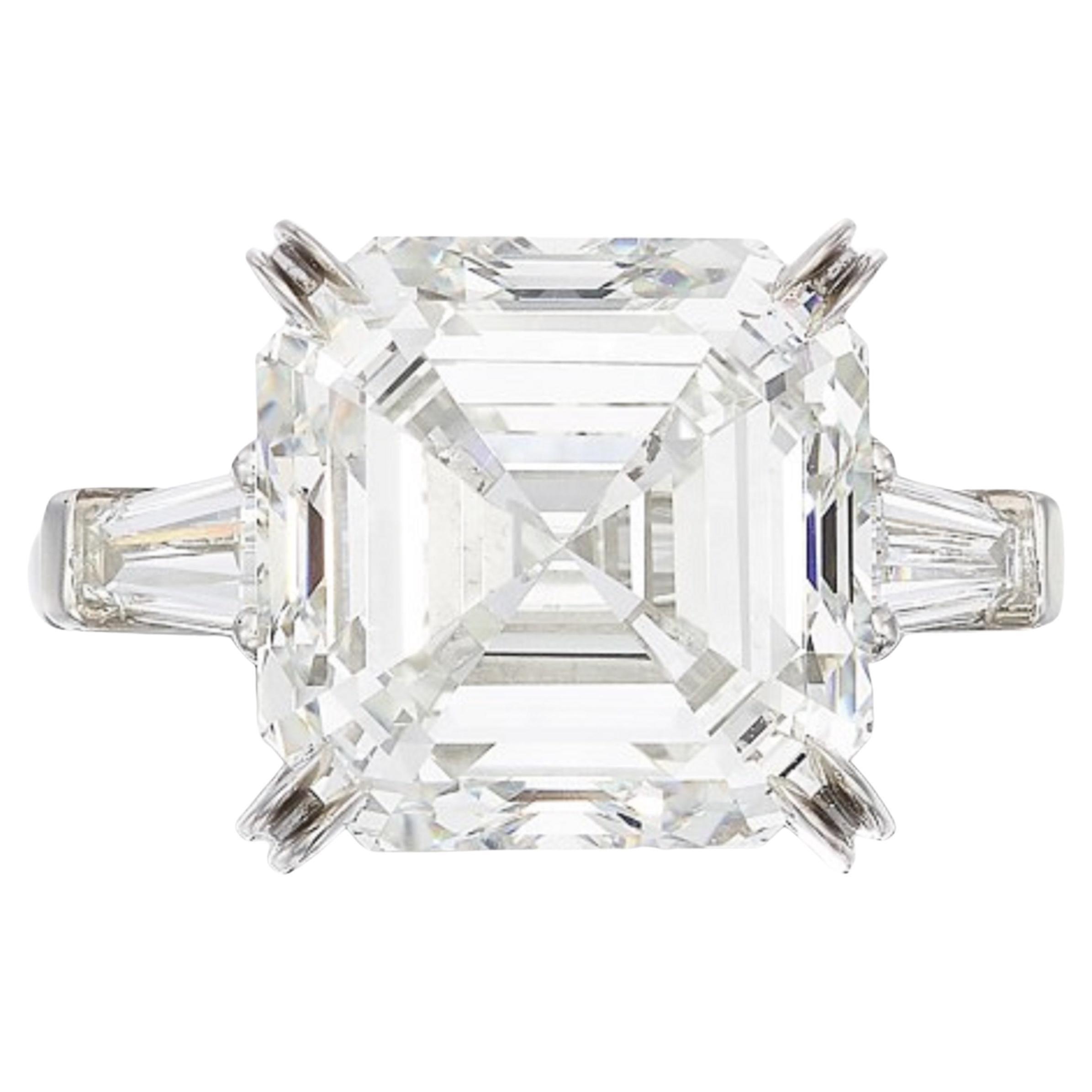 GIA Certified 10 Carat Asscher Cut Diamond Ring
