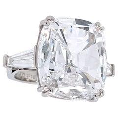 GIA Certified 10 Carat Cushion Cut Tapered Baguette Diamond Ring