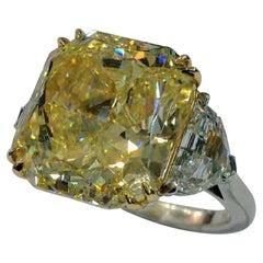 GIA Certified 10 Carat 'main stone' Carat Fancy Intense Yellow Diamond Ring