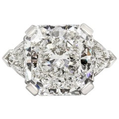 GIA Certified 10 Carat Radiant Cut Diamond Three-Stone Engagement Ring