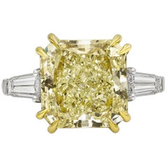 GIA Certified 10 Carat Radiant Cut Yellow Diamond Three-Stone Engagement Ring