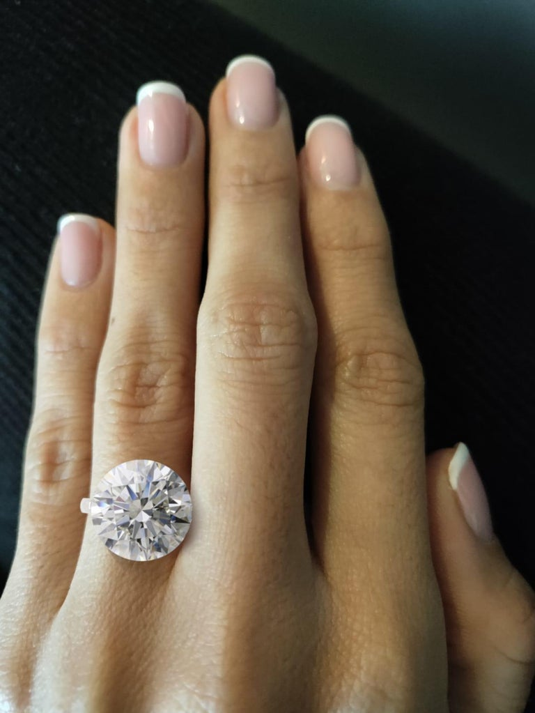 Modern GIA Certified 10 Carat Round Brilliant Cut Diamond Ring For Sale
