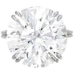 GIA Certified 10 Carat Round Brilliant Cut Diamond Ring