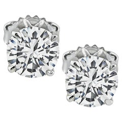 GIA Certified 1.00 Carat and 1.01 Carat Diamond Stud Earrings