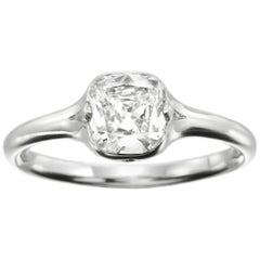 GIA Certified 1.00 Carat Cushion Shaped Diamond and Platinum Ring by Siegelson