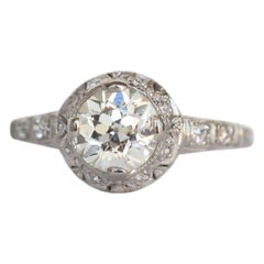 GIA Certified 1.00 Carat Diamond Platinum Engagement Ring