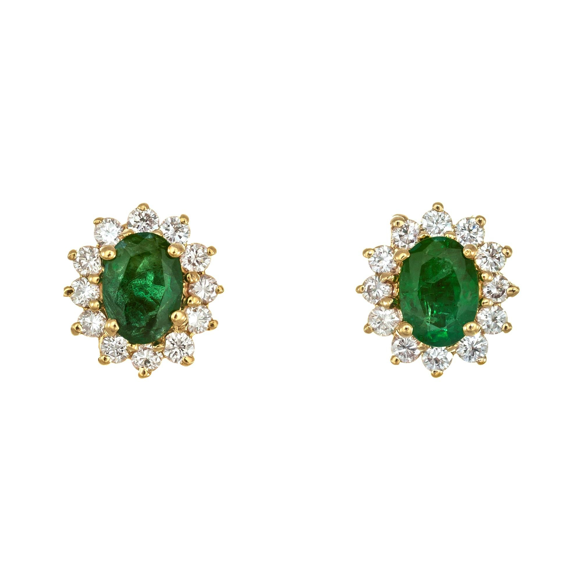 GIA Certified 1.00 Carat Emerald Diamond Yellow Gold Stud Earrings