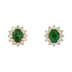 GIA Certified 1.00 Carat Emerald Diamond Yellow Gold Stud Earrings