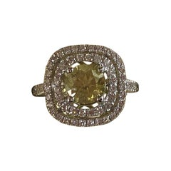 GIA Certified 1.00 Carat Fancy Intense Yellow Round Diamond Ring 18 Karat Gold