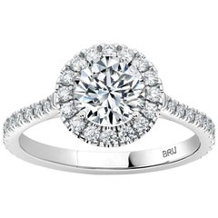 GIA Certified 1.00 Carat Halo Diamond Engagement Ring