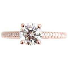 GIA Certified 1.00 Carat I SI2 Round Brilliant Diamond Rose Gold Engagement Ring