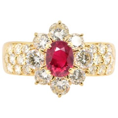 GIA Certified 1.00 Carat Natural Burmese Ruby and Diamond Ring Set in 18K Gold
