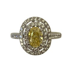 GIA Certified 1.00 Carat Natural Fancy Vivid Yellow Oval Diamond Ring 18K Gold