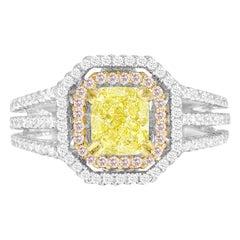 DiamondTown GIA Certified 1.00 Carat Natural Fancy Yellow Diamond Halo Ring