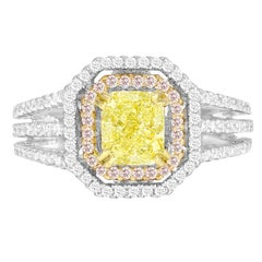 DiamondTown GIA Certified 1.00 Carat Natural Fancy Yellow Diamond Halo Ring