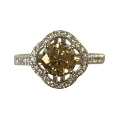 GIA Certified 1.00 Carat Natural Fancy Yellow Round Diamond Ring 18 Karat Gold