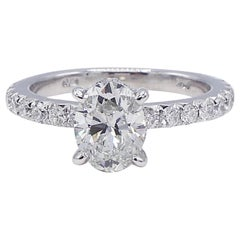 GIA Certified 1.00 Carat Oval Diamond 14 Karat White Gold Engagement Ring