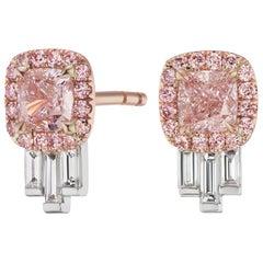 GIA Certified 1.00 Carat Pink Diamond Earrings